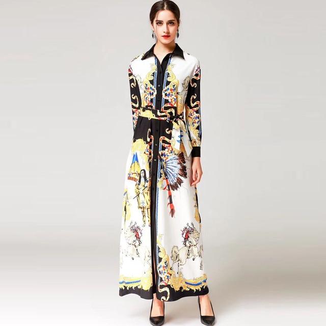 3d8f01a23d2 High-quality 2018 new designer fashion runway Maxi dress Women long sleeve  lapel pattern printing Vintage Loose long dress