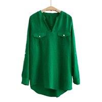 2017 Spring Summer Solid Color V Neck Women Chiffon Blouse Green Long Sleeves Pockets Casual Shirt