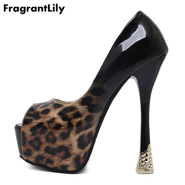 FragrantLily Women Ultra Very High Heel Contrast Leopard Print Peep Toe  Pumps Shoes Woman Sexy Heels Party Clubwear Dress Shoes 3a550120d