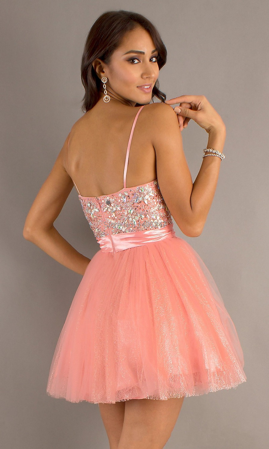 Spaghetti Strap Short Homecoming Dresses
