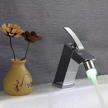 Luminous Basin Faucet All Copper Waterfall Basin Faucet Deck Mount Mixer Tap LED Temperature Color Faucet phasat n pblt waterfall basin faucet silver
