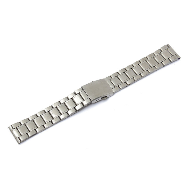 18mm 20mm 22mm Stainless Steel Strap Silver Wrist Watch Bracelet With Folding Cl
