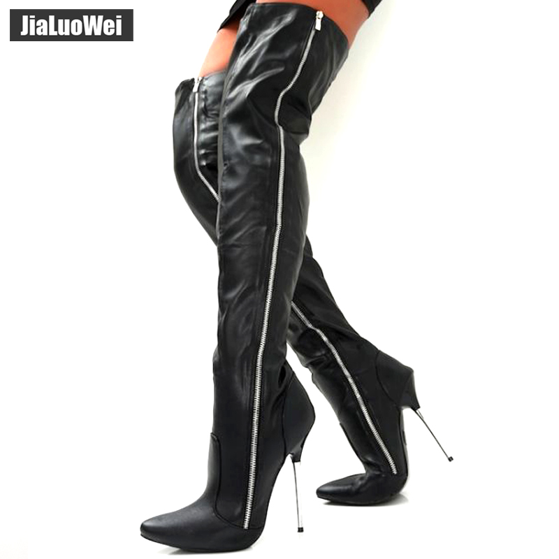 Women Fashion PU Leather Pointed Toe over the knee boots Ladies Autumn winter High heels boots Sexy thigh high boots botas mujer daidiesha knee high boots embroidery genuine pu leather women boots in winter square high heels boots sexy pointed toe shoes