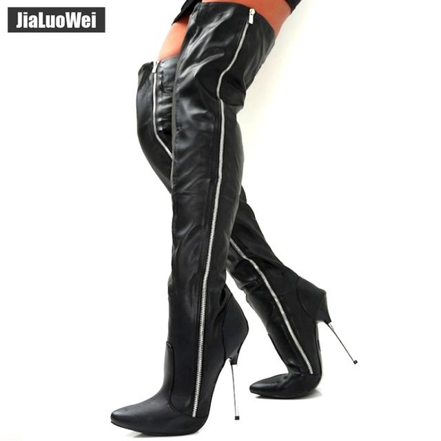 de52541d0f Women Fashion PU Leather Pointed Toe over the knee boots Ladies Autumn winter  High heels boots Sexy thigh high boots botas mujer