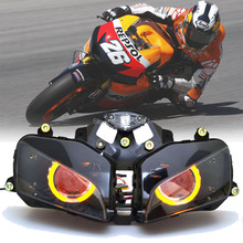 """Custom Modified 2.8"""" Projector HID Assembled Conversion Headlight Amber Angel Eyes Red Demon Eyes Fits For Honda CBR600RR 03 06"""