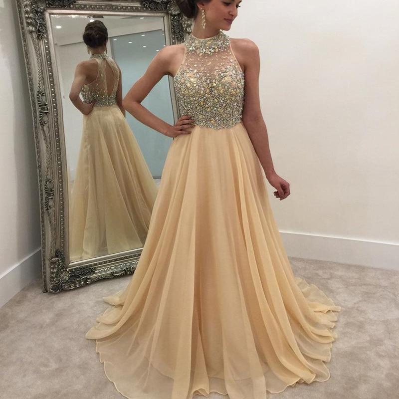 High Neck Long   Prom     Dresses   Sleeveless Illusion Back Sweep Train Heavy Beading Evening Formal Party   Dress   Vestido De Fiesta