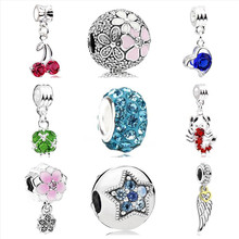 Btuamb European Luxurious Crystal Love Heart Cherry Pendant Beads Fit Original Pandora Charm Bracelets Making Jewelry Lover Gift(China)