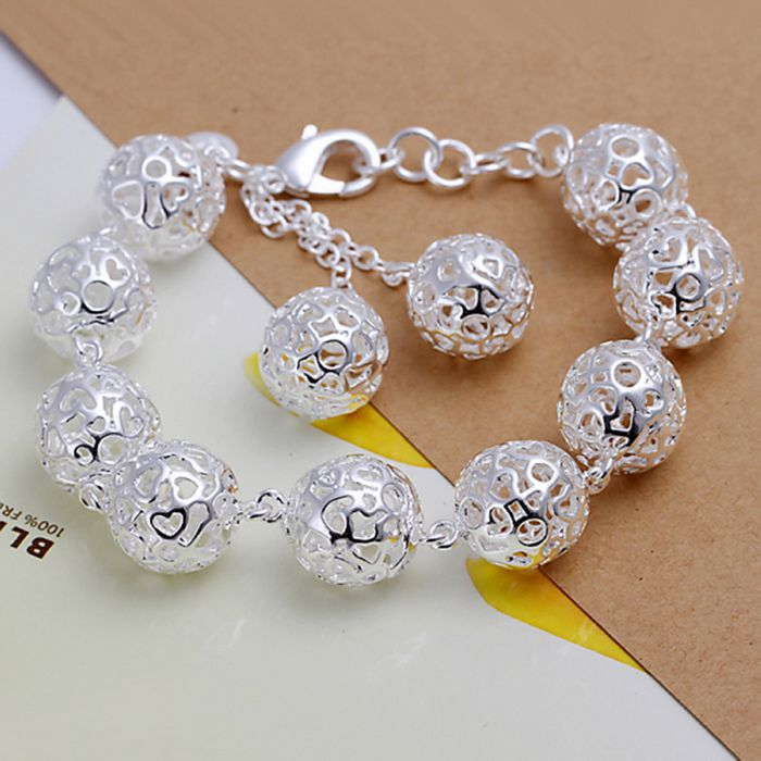 Jewelry & Accessories Honest Christmas Gift 2016 New 925 Jewelry Silver Plated Fashion Jewelry Hollow Ball Bracelets&bangle,wholesale Jewelry Smth088 Fine Workmanship