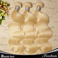 "Blonde Brazilian Hair 3Pcs Lot Human Virgin Hair Extensions 7A Brazilian Body Wave 12""-30"" Color 613 Blonde Virgin Hair"