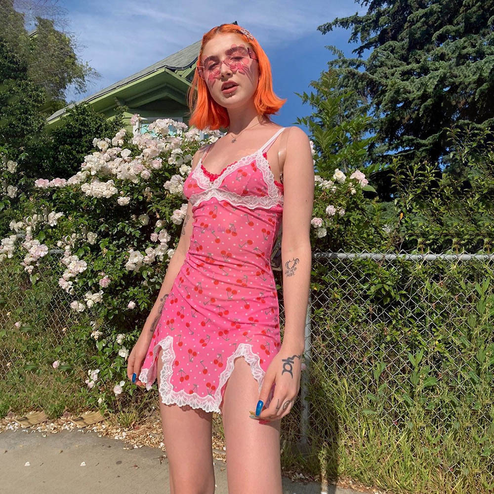 Summer Pink Dress Women Streetwear Sexy Cute Cherry Print Sundress Lace Robe Ete Split Short Mini Vestdido Dollskill Party Dress