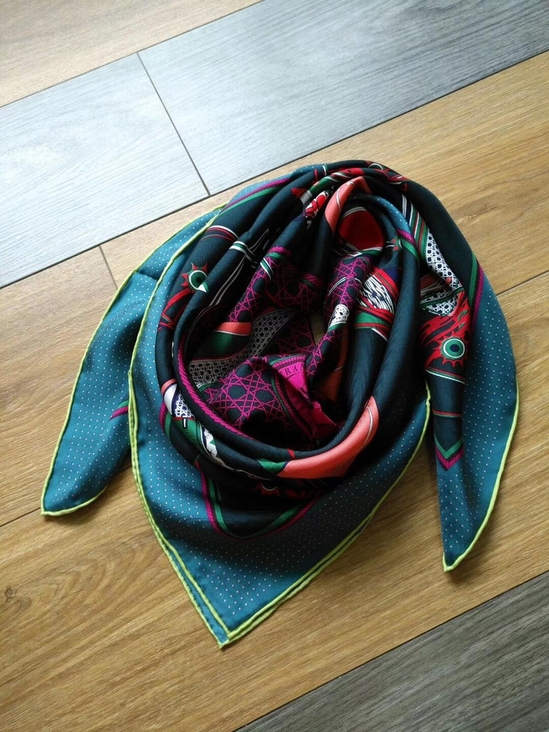 2019 New Arrival Spring Autumn Horse Carriage 100% Pure Silk Scarf Twill Hand Made Roll 90*90 Cm Shawl Wrap For Women Lady