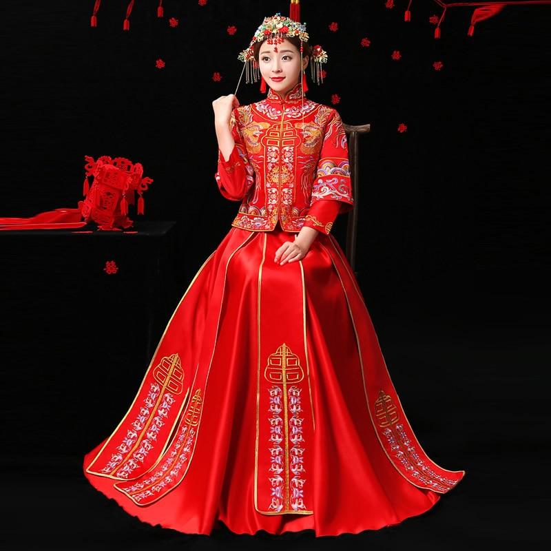 Broderi Bride Röd Kinesisk Traditionell Bröllopsklänning Qipao - Nationella kläder