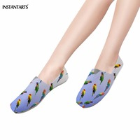 INSTANTARTS Cute Colorful 3D Parrot Pattern Lazy Cloth Shoes for Teen Girls Comfortable Breathable Summer Flats Fashion Footwear