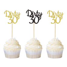 12pcs Gold and Black Glitter Dirty 30 Cupcake Toppers 30th Birthday Party Favor Celebrating Anniversary Cake Picks Free Shipping