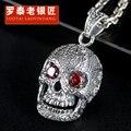100% 925 Silver Skull Pendant Necklace Thai Silver Pendant Men Tide Restoring Ancient Ways Men Deserve To Act The  Hot Sale
