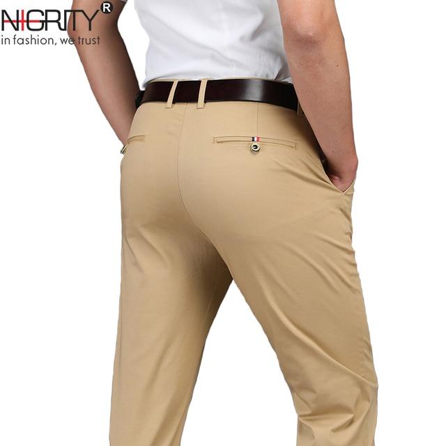 Брендовые мужские прямые брюки NIGRITY, новинка сезона осень зима 2020, деловые повседневные хлопковые брюки, мужские брюки большого размера 28 42