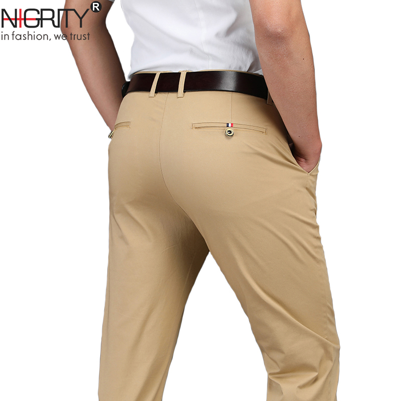 NIGRITY Brand 2019 New Autumn Winter New Fashion Slim Straight Men Business Casual Pants Man Trousers Plus Size 28-38