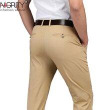 Nibrand marca 2020 novo outono inverno nova moda ajuste direto dos homens de negócios casual algodão calça homem calças mais tamanho grande 28 42
