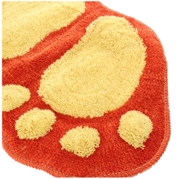 Large Footprint Figure Soft Shaggy Non-slip Bathroom Bedroom Mat Indoor Feet Rug(58*38/CM) Orange