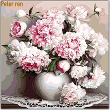 Peter ren Diamond painting flowers DIY art 5D Square&Round mosaic embroidery hand-painted decorative peony vase