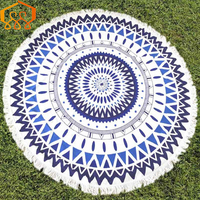 Microfiber Fabric Printed Round Beach Towels With Tassel Circle Beach Towel Serviette Free Shipping