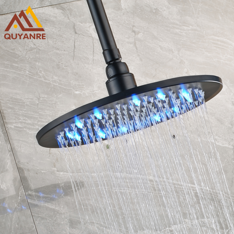 Free Shipping Black Color Showerhead Led Light Round without Arm Rainfall Bathroom Head free shipping black color showerhead led light round without arm rainfall bathroom head