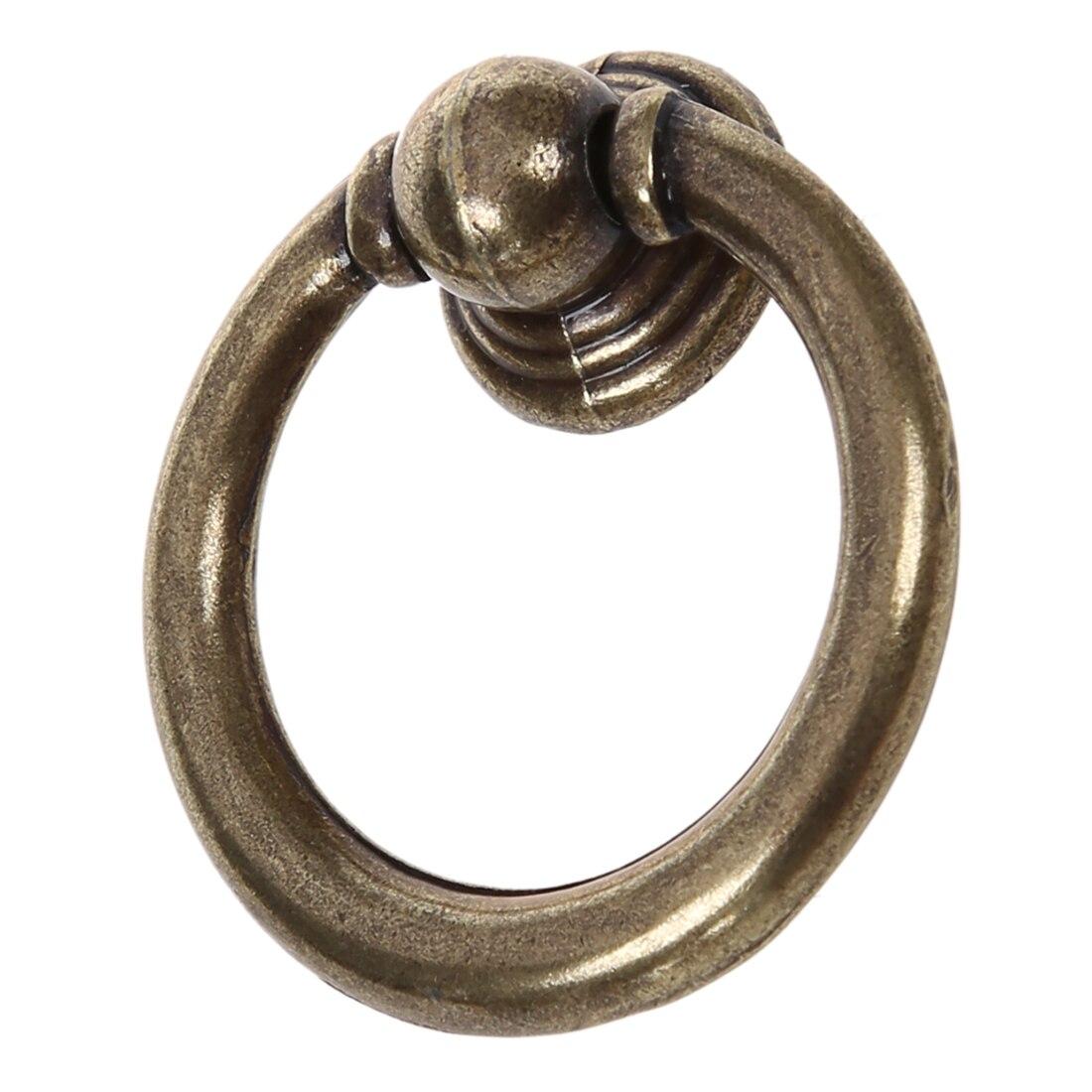 10x Retro Furniture Hardware Drawer Drop Ring Pull Knob--Bronze Tone drop crotch loose two tone pants
