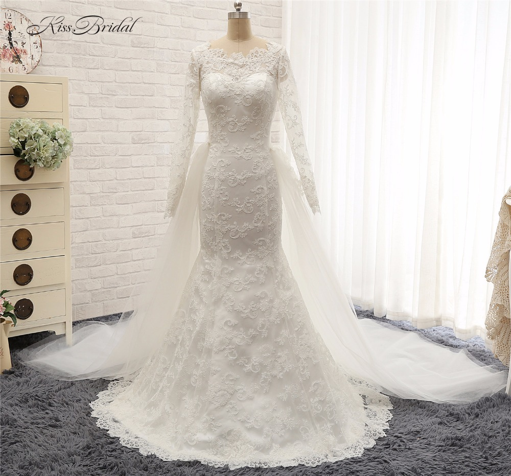 Modest Long Sleeve High Neck Wedding Dresses With Detachable Train Mermaid vestidos de boda baratos manga larga