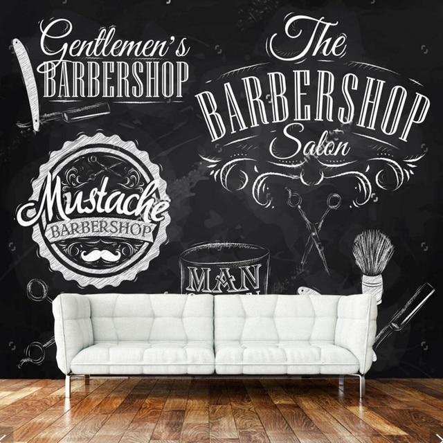 retro wallpaper barber elements and tools for barber shop bedroom