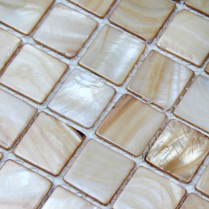 Buy Brown Tan Yellow Backsplash Tile Kitchen Mother Of Pearl Tiles Floor Wall Bathroom Shower Discount Shell Mother Of Pearl Tile From