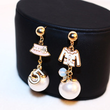 Women Lrregular Hat Coat Earring Real Rose Gold Letter 5 Female Party Fine Pearl