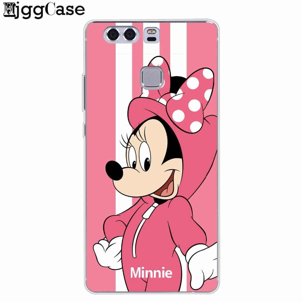 Divertente del fumetto Minnie Punto Stripes Caso Della Copertura Del Telefono Per Huawei P8 P9 P10 P20 Lite Pro Y6 II Y7 2017 honor 9 10 Lite Compagno 10