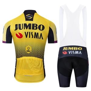 Image 2 - 2019 Pro team jumbo visma bisiklet jersey seti erkek bisiklet maillot MTB Yarış ropa Ciclismo yaz hızlı kuru bisiklet bezi JEL pedi