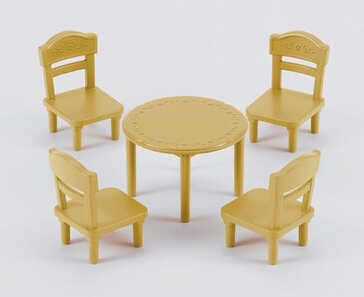 Mini Toy Dining Room Set Miniature Table With Chairs Sylvanian Families Kitchen
