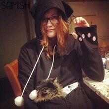Saimishi Purple Embroidery Big Pocket Pullovers Women Sweatshirt Autumn Winter Warm Fashion With Cat Lovers font