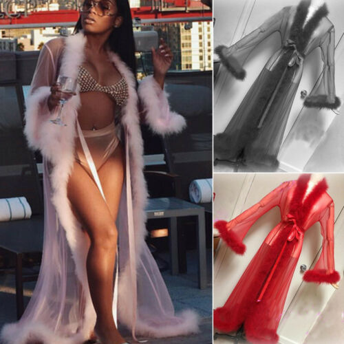 Women See-through Lace Mesh Feather Sleepwear Maxi Robes Sexy Nightwear Babydoll Sleepwear Robe Lady Loose Long Sleeve Robes
