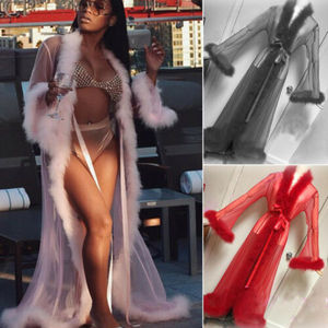 Women See-through Lace Mesh Feather Sleepwear Maxi Robes Sexy Nightwear Babydoll Sleepwear Robe Lady Loose Long Sleeve Robes(China)