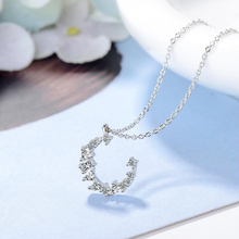 Moon Shape Trending Necklace High Quality Copper Alloy Austrian Crystal Rhinestone Moon Pendant Necklace Sweater Fashion Jewelry
