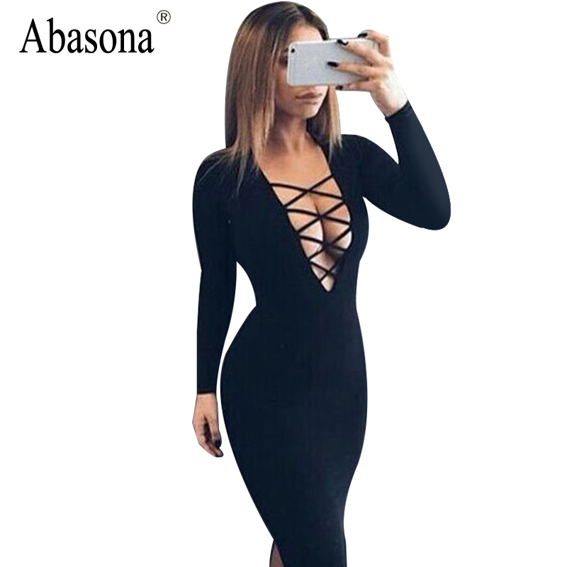 Vestidos Cotton Women Tie Up Autumn Bodycon Party Dress Sexy Deep V Neck  Cross Long Sleeve Night Club Bandage Dress 2156af4513cf