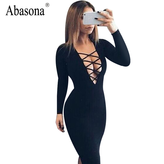 Vestidos Cotton Women Tie Up Autumn Bodycon Party Dress Sexy Deep V Neck  Cross Long Sleeve Night Club Bandage Dress 4a42b2f12
