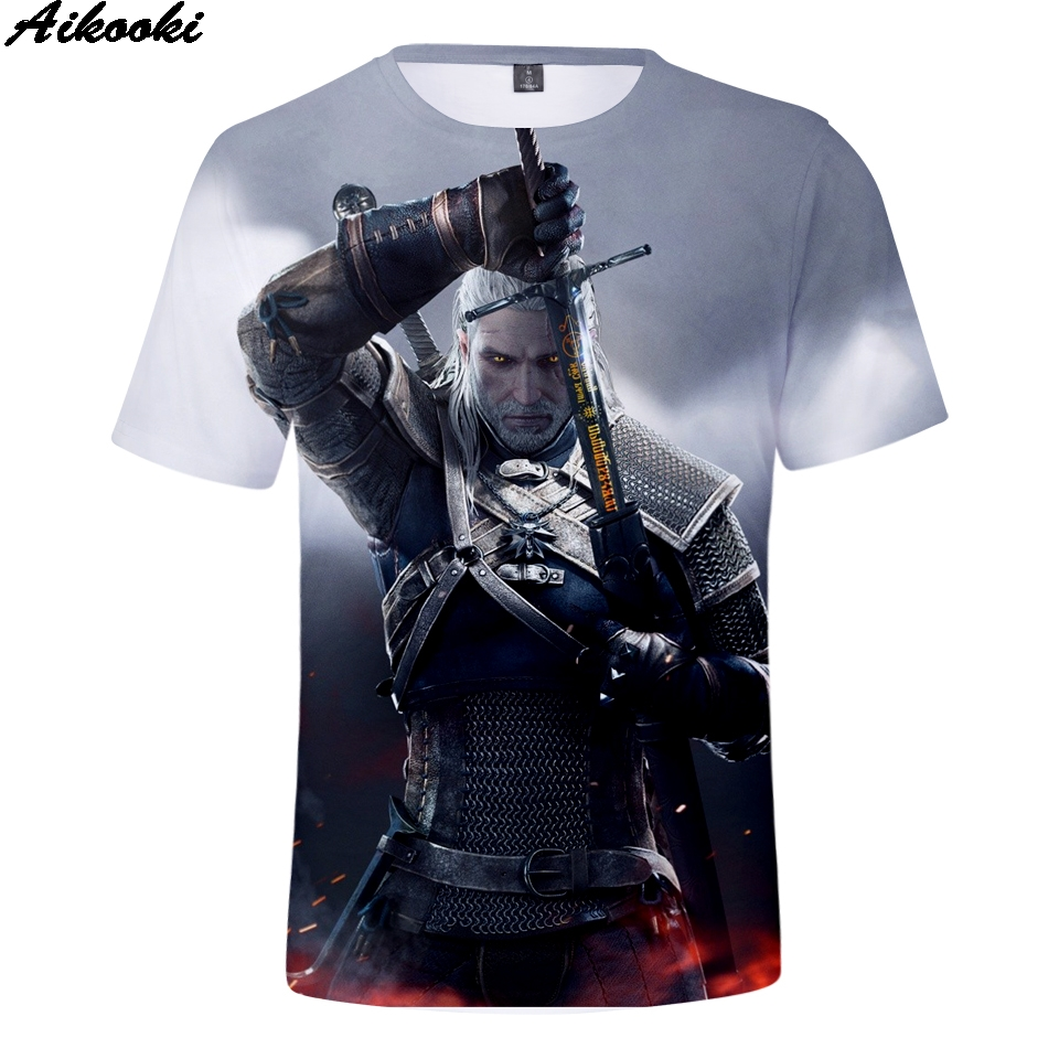 Aikooki 2018 Fashion Men/Women T-Shirt witcher 3D t-shirts Men Summer 3D T shirt Print witcher 3 Short Sleeve Hip Hop Clothing