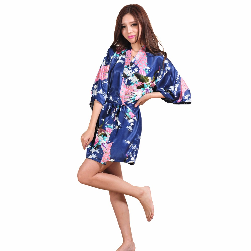 Online Shop New Chinese Women Satin Short Robe Casual Home Dressing ...