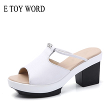 E TOY WORD 2019 new summer slippers sandals women Genuine Leather thick heel outdoor wedge fashion slippers women's platform buyiniao 2017 new summer cool women wedge sandals vintage style genuine leather slippers floral printing sandalias femininas