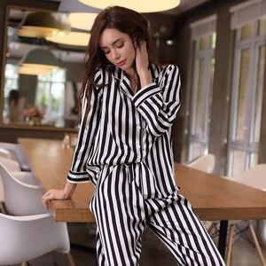 Image 2 - High Quality Real Silk Pajama100% SILK Sleepwear Women Long Sleeve Pyjama Pants Two Piece Sets Striped Printed Nightwear T8131