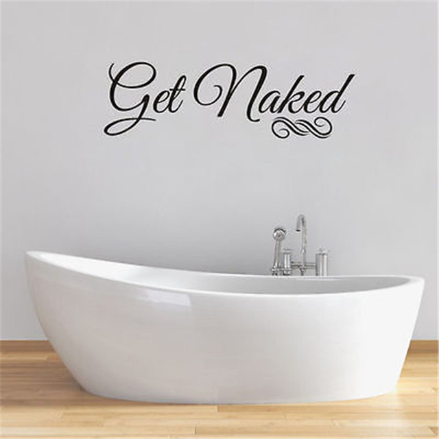 Bathroom Get Naked Funny Quote Wall Art Sticker Words Decal Transfer Vinyl  Decal