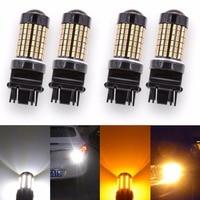 4x T25 3157 Switchback Led-lampen Wit Oranje Dual Kleur P27 T25 Led DRL Richtingaanwijzer Staart Brake Stop Licht 7443 1157/BAY15D