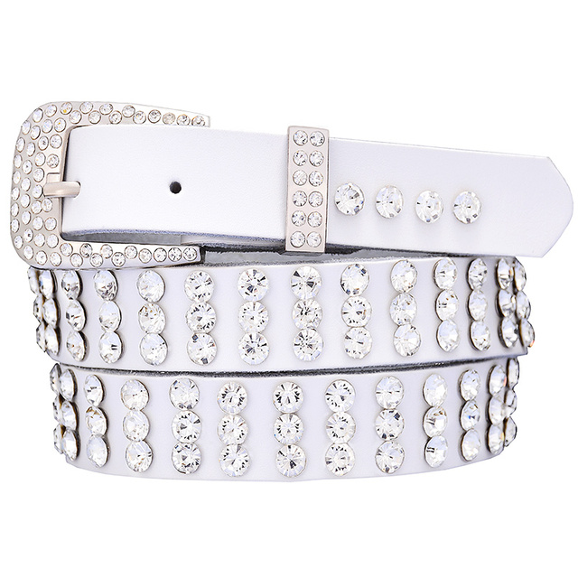Women's Rhinestones Decorated Genuine Leather Belt