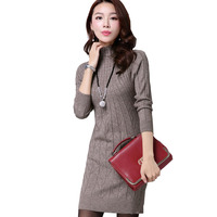 2016 New Arrival Women Autumn Winter Dress 5 Colors Knitting Warm Sheath Plus Size S 3XL