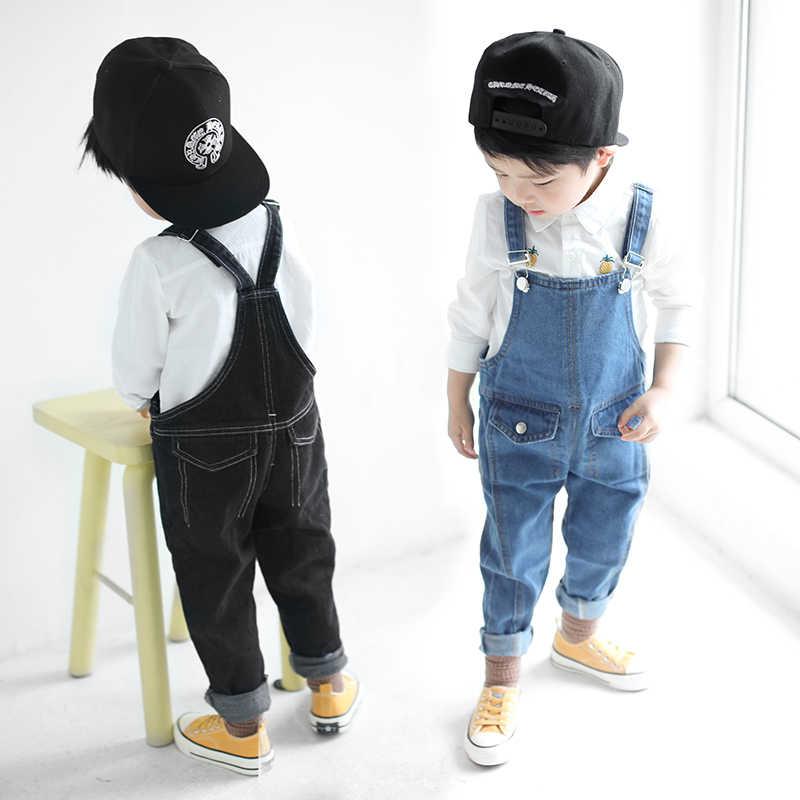 Çocuklar denim tulum 2019 bahar kızlar kovboy askı pantolon çocuk Kore kemer pantolon 3 ila 7 yıl çocuk delik kot pantolon