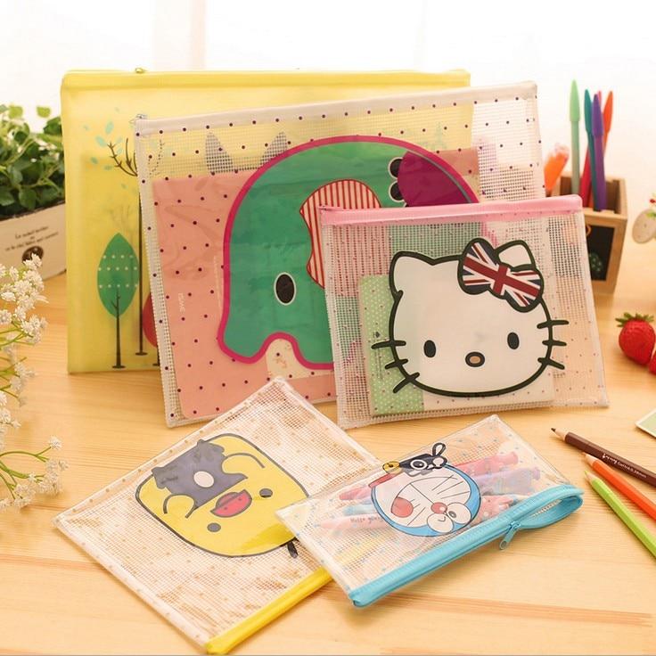 Cute Cartoon Grid Folder A4 Office Envelope PVC Paper Data Bag A5 Pen Bag Stationery Bag